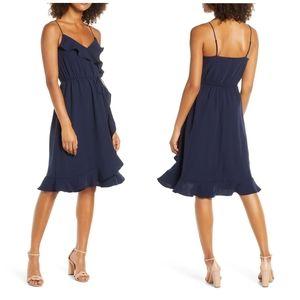 J.Crew | NWOT Navy Ruffle Faux Wrap Dress